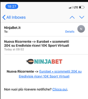 notifiche mail ninjabet